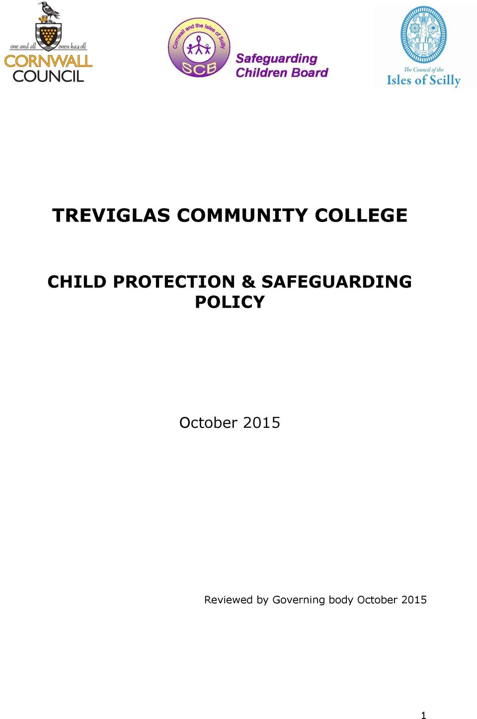 SAFEGUARDING POLICY October