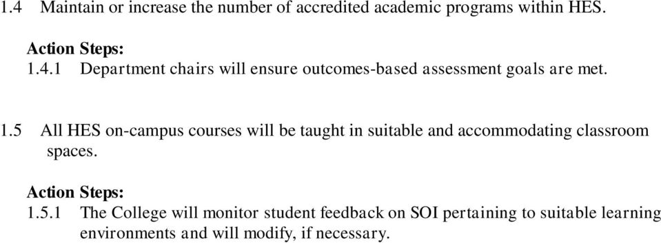 5.1 The College will monitor student feedback on SOI pertaining to suitable learning