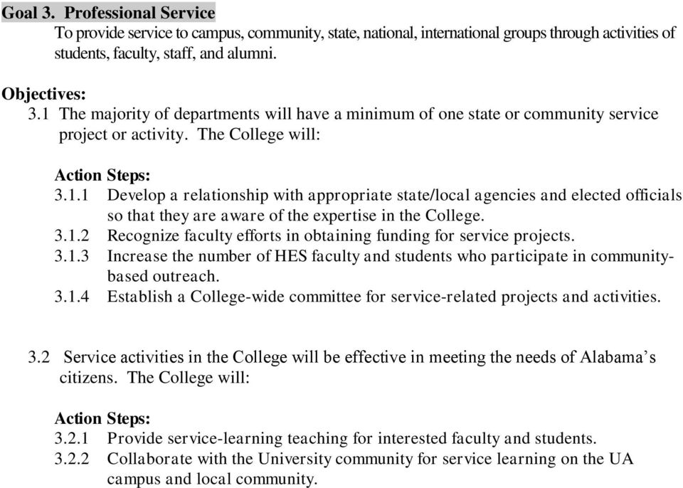 3.1.3 Increase the number of HES faculty and students who participate in communitybased outreach. 3.1.4 Establish a College-wide committee for service-related projects and activities. 3.2 Service activities in the College will be effective in meeting the needs of Alabama s citizens.