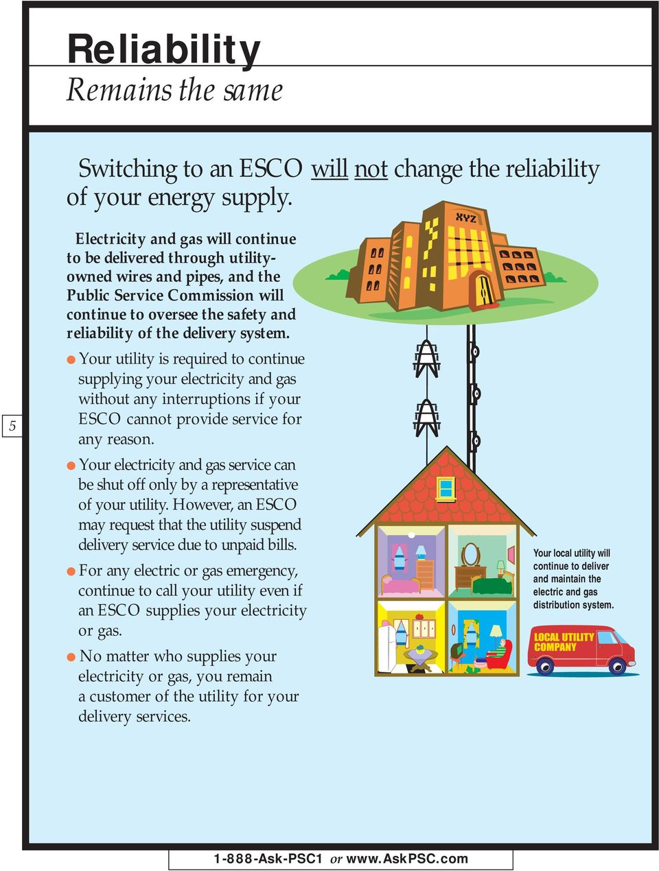 Your utility is required to continue supplying your electricity and gas without any interruptions if your ESCO cannot provide service for any reason.