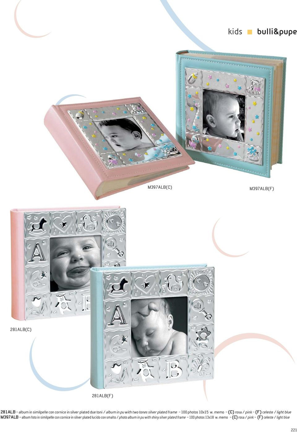 memo (C) rosa / pink (F) celeste / light blue M397ALB album foto in similpelle con cornice in silver plated