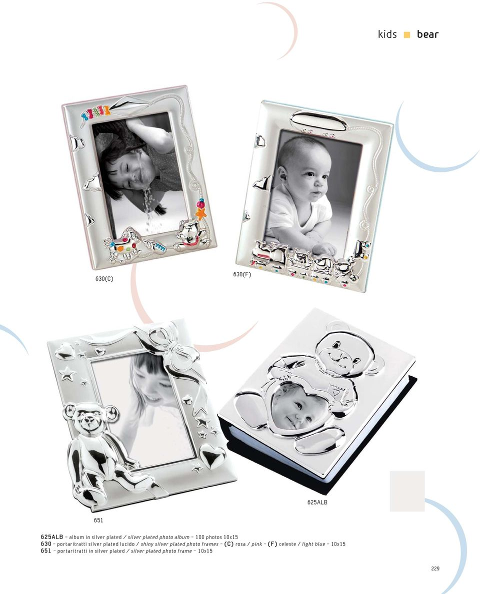 / shiny silver plated photo frames (C) rosa / pink (F) celeste / light