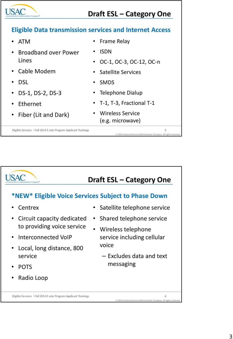 microwave) Eligible Services I Fall 2014 E rate Program Applicant Trainings 5 Draft ESL Category One *NEW* Eligible Voice Services Subject to Phase Down Centrex Circuit capacity dedicated to