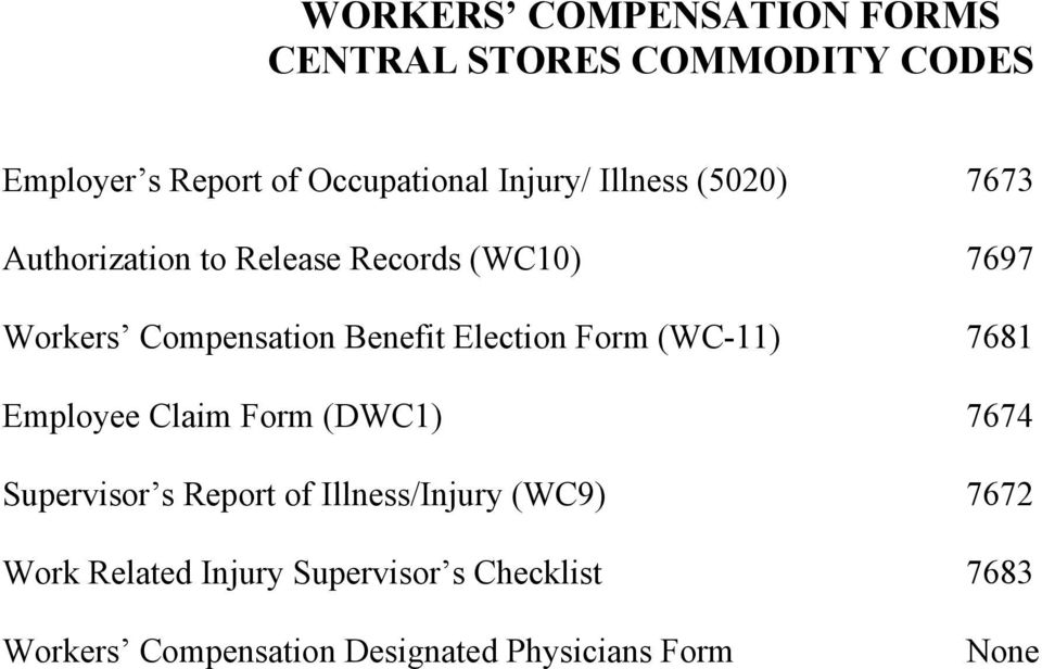 Election Form (WC-11) 7681 Employee Claim Form (DWC1) 7674 Supervisor s Report of Illness/Injury