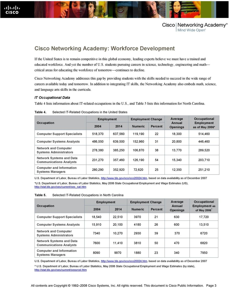 Cisco Networking Academy addresses this gap by providing students with the skills needed to succeed in the wide range of careers available today and tomorrow.