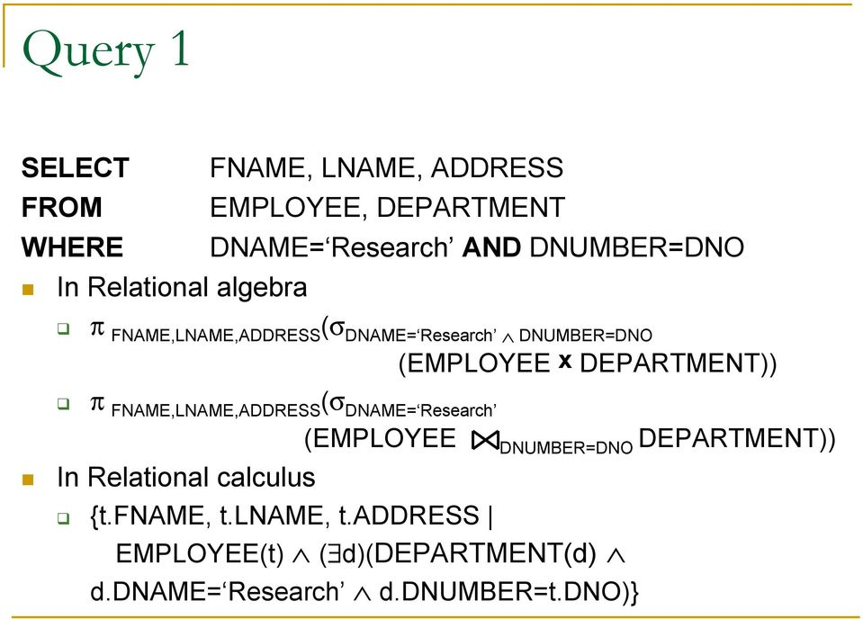 DEPARTMENT)) π FNAME,LNAME,ADDRESS (σ DNAME= Research (EMPLOYEE DNUMBER=DNO DEPARTMENT)) In