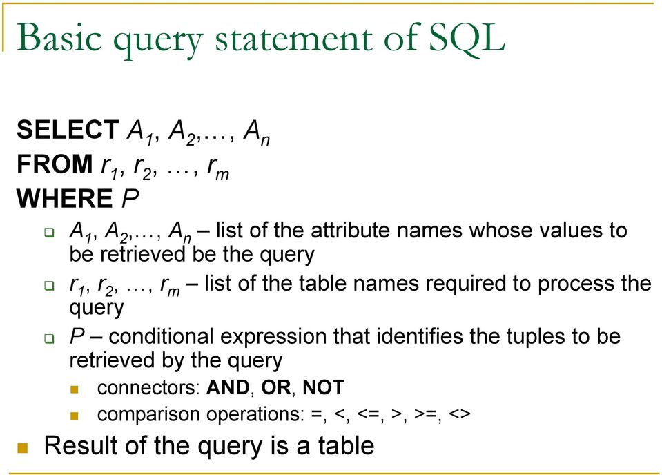 required to process the query P conditional expression that identifies the tuples to be retrieved by