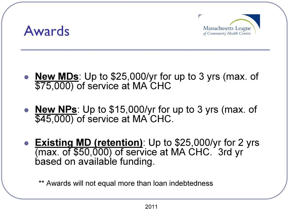 of $45,000) of service at MA CHC.