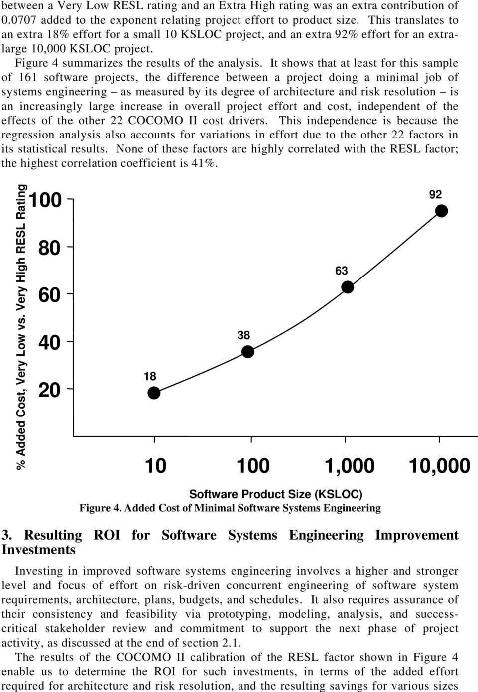It shows that at least for this sample of 161 software projects, the difference between a project doing a minimal job of systems engineering as measured by its degree of architecture and risk