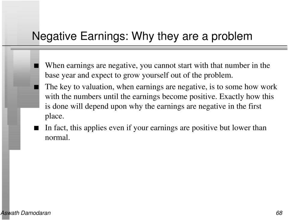 The key to valuation, when earnings are negative, is to some how work with the numbers until the earnings become