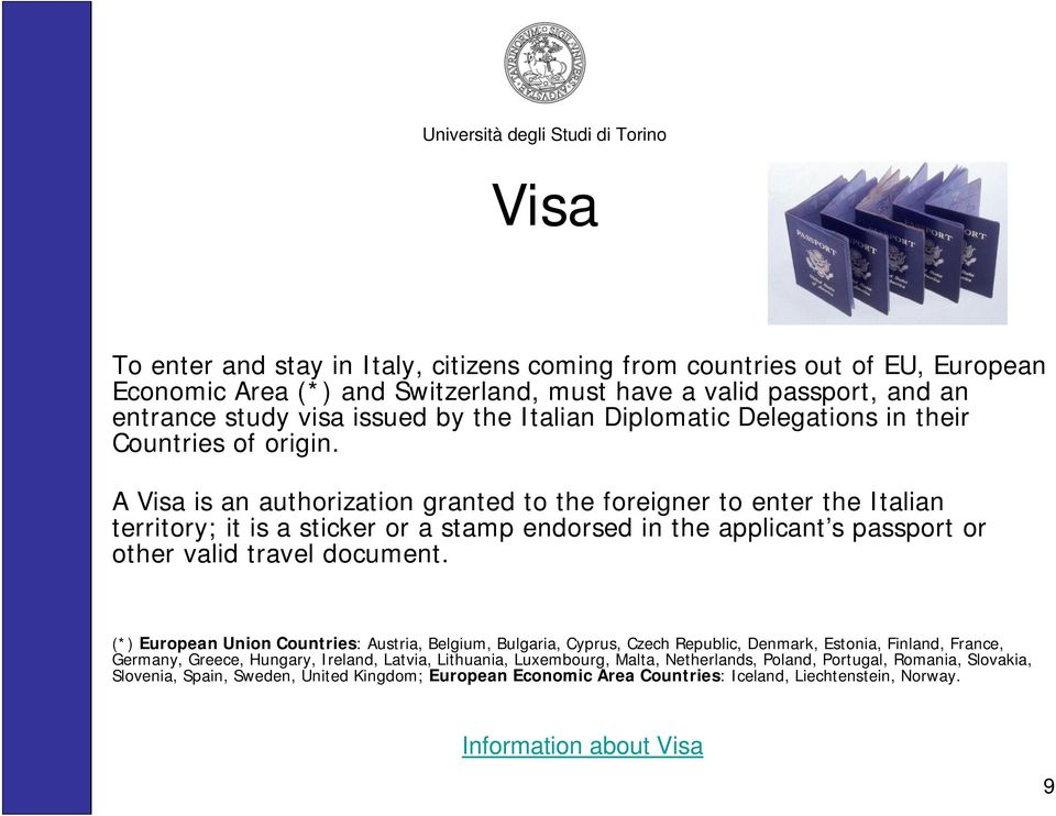 A Visa is an authorization granted to the foreigner to enter the Italian territory; it is a sticker or a stamp endorsed in the applicant s passport or other valid travel document.