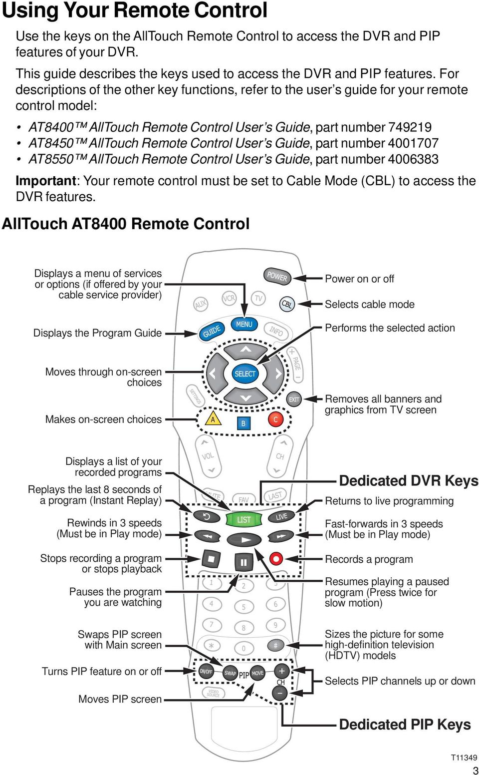 User s Guide, part number 4001707 AT8550 AllTouch Remote Control User s Guide, part number 4006383 Important: Your remote control must be set to Cable Mode (CBL) to access the DVR features.