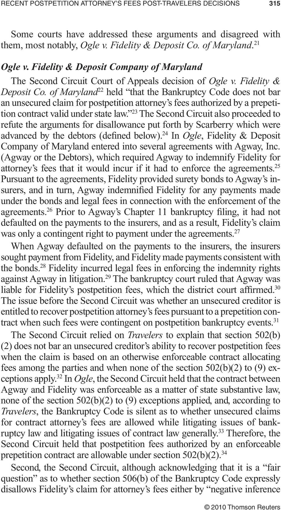 pany of Maryland The Second Circuit Court of Appeals decision of Ogle v. Fidelity & Deposit Co.
