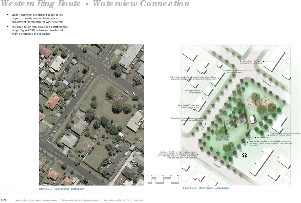 8) to illustrate how the park might be extended and upgraded. Figure C-7.7: Saxon Reserve - existing plan Figure C-7.