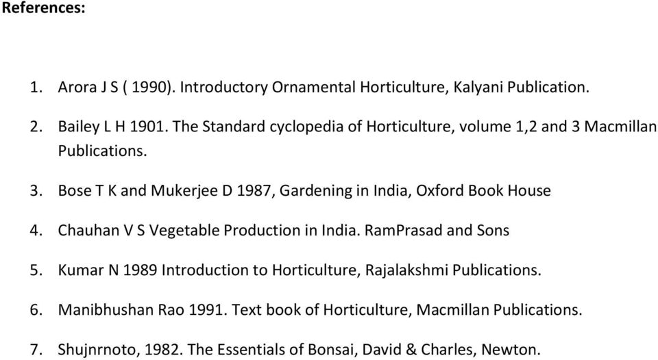 Chauhan V S Vegetable Production in India. RamPrasad and Sons 5. Kumar N 1989 Introduction to Horticulture, Rajalakshmi Publications. 6.