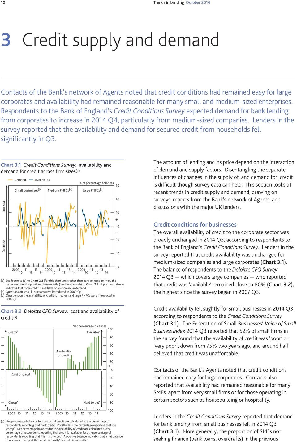 Respondents to the Bank of England s Credit Conditions Survey expected demand for bank lending from corporates to increase in 14 Q4, particularly from medium-sized companies.