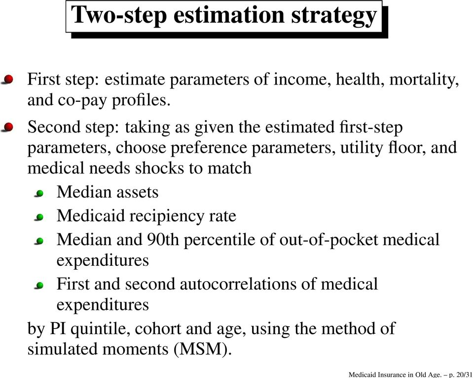 Second step: taking as given the estimated first-step parameters, choose preference parameters, utility floor, and medical needs