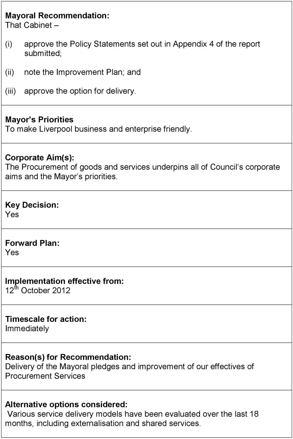 Key Decision: Yes Forward Plan: Yes Implementation effective from: 12 th October 2012 Timescale for action: Immediately Reason(s) for Recommendation: Delivery of the Mayoral pledges and