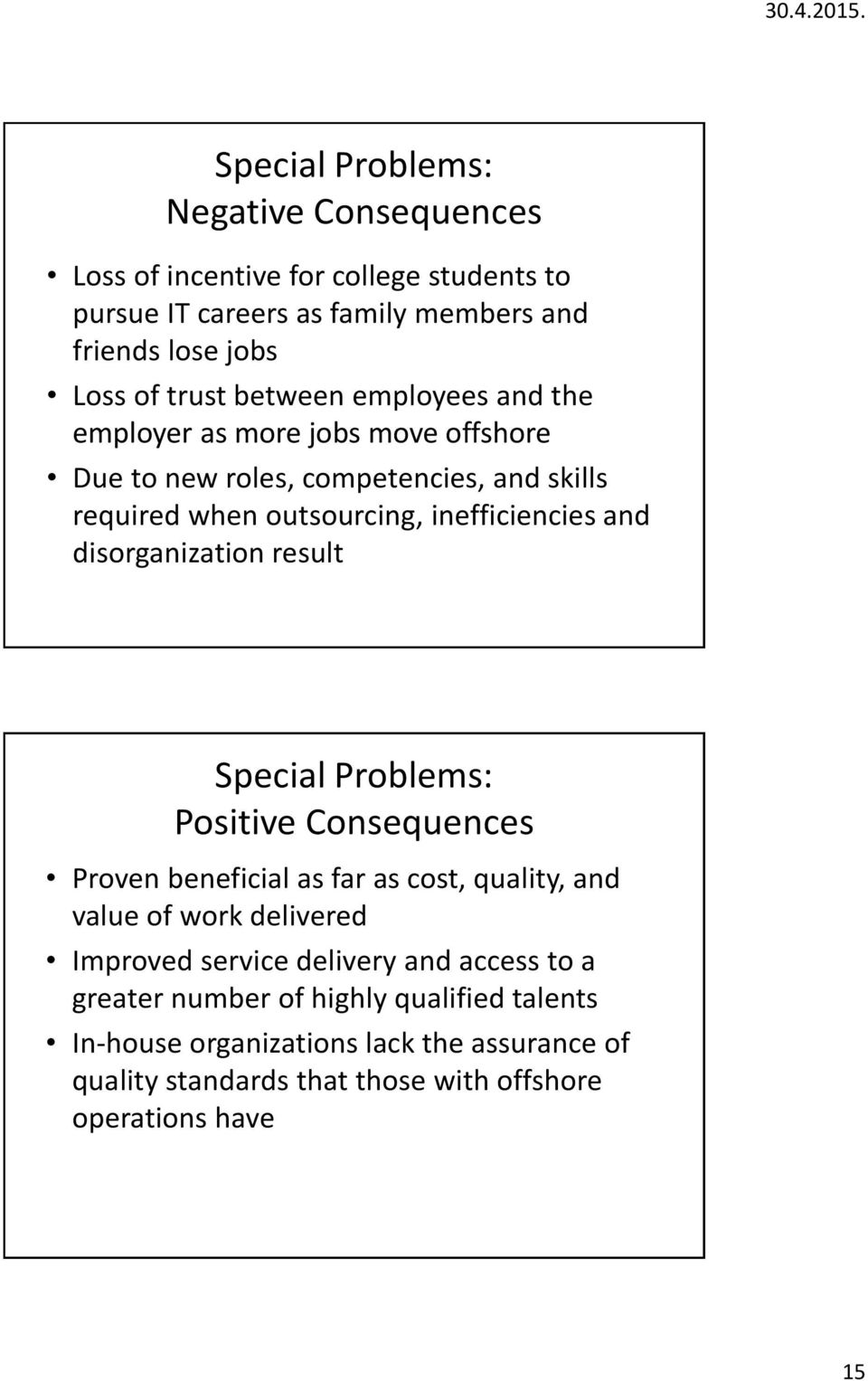 disorganization result Special Problems: Positive Consequences Proven beneficial as far as cost, quality, and value of work delivered Improved service