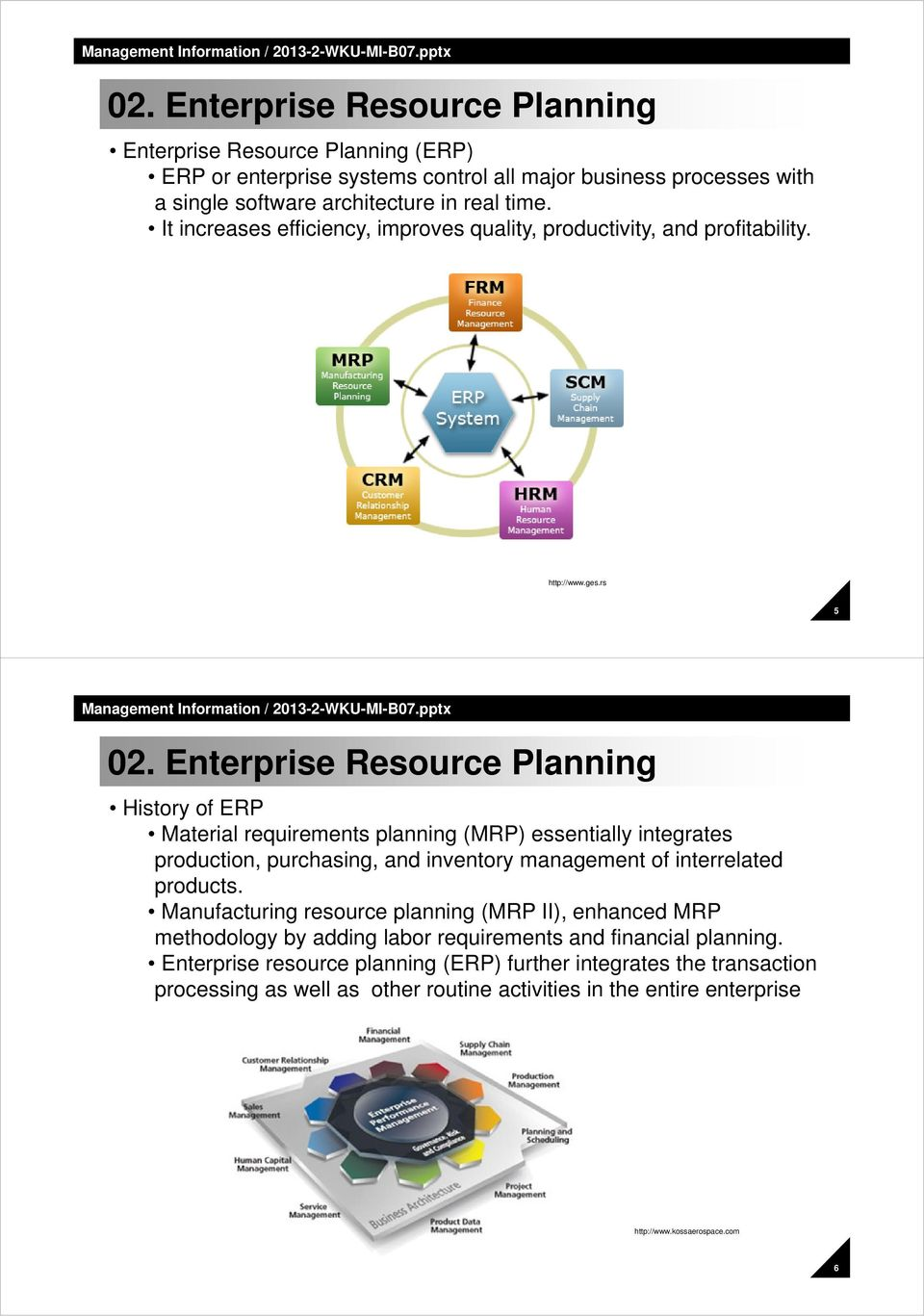Enterprise Resource Planning Historyof ERP Material requirements planning (MRP) essentially integrates production, purchasing, and inventory management of interrelated products.
