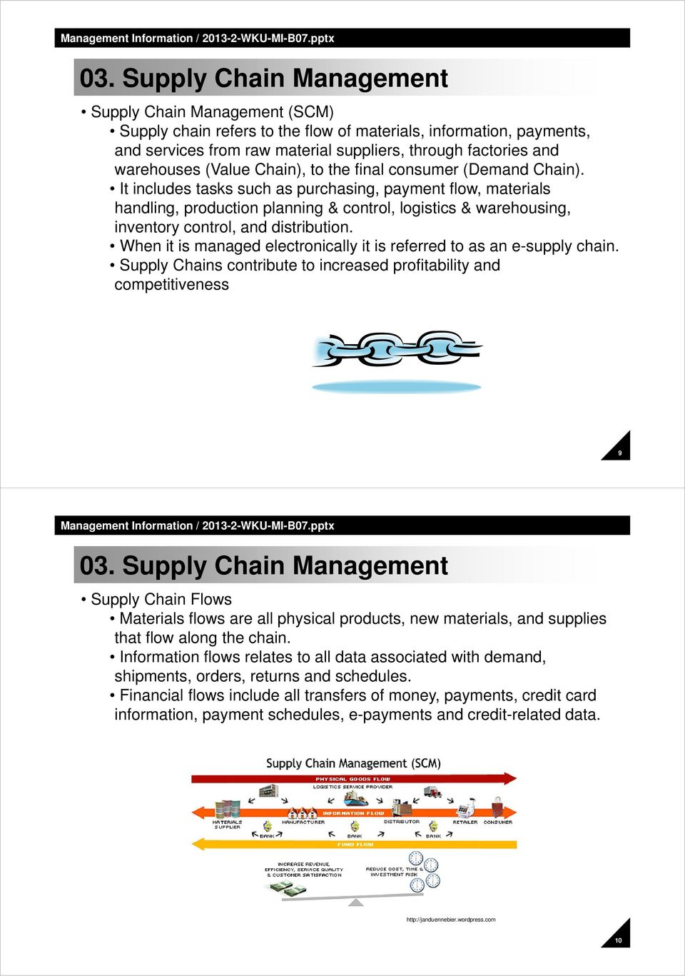 When it is managed electronically it is referred to as an e-supply chain.