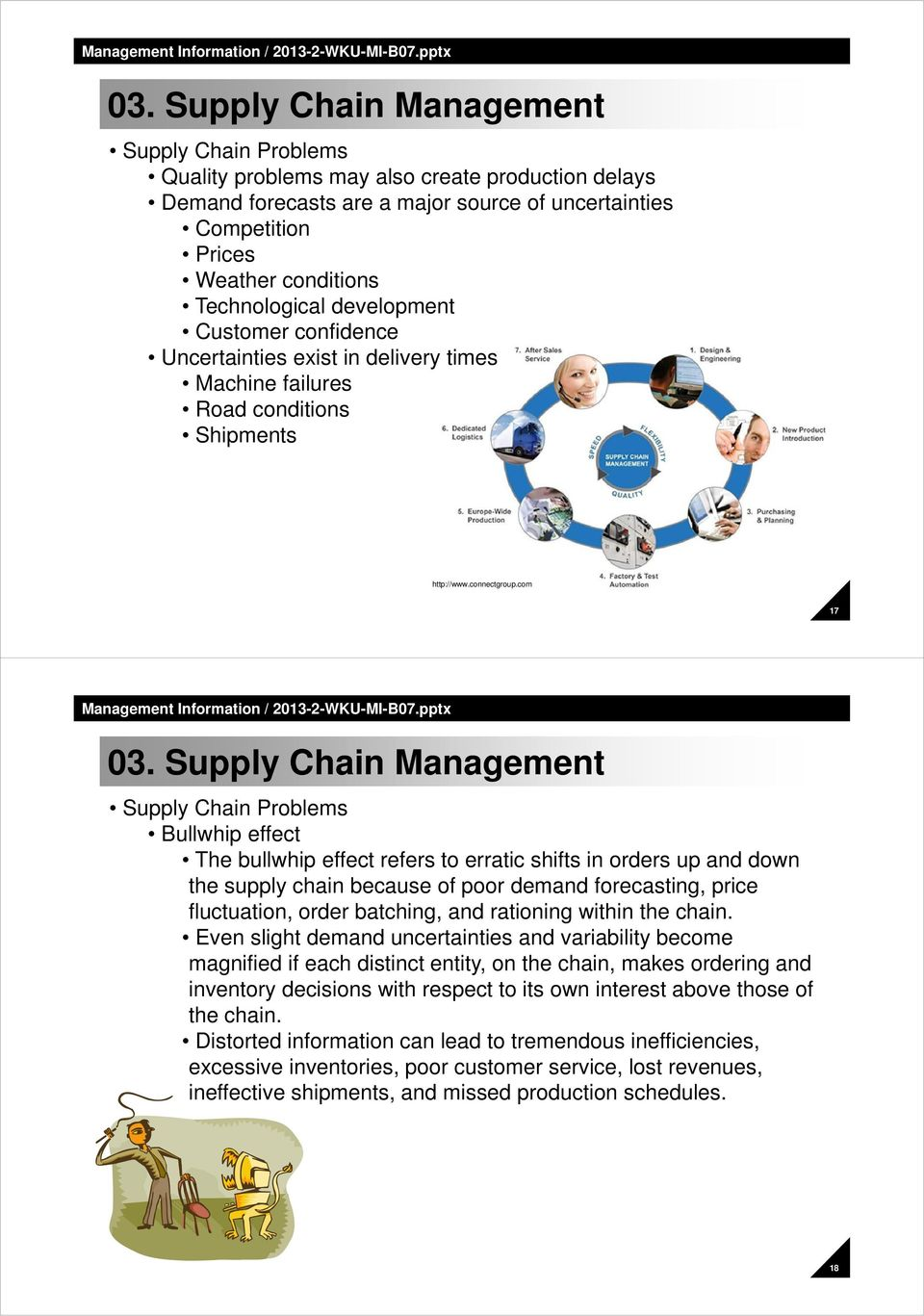 com 17 Supply Chain Problems Bullwhip effect The bullwhip effect refers to erratic shifts in orders up and down the supply chain because of poor demand forecasting, price fluctuation, order batching,