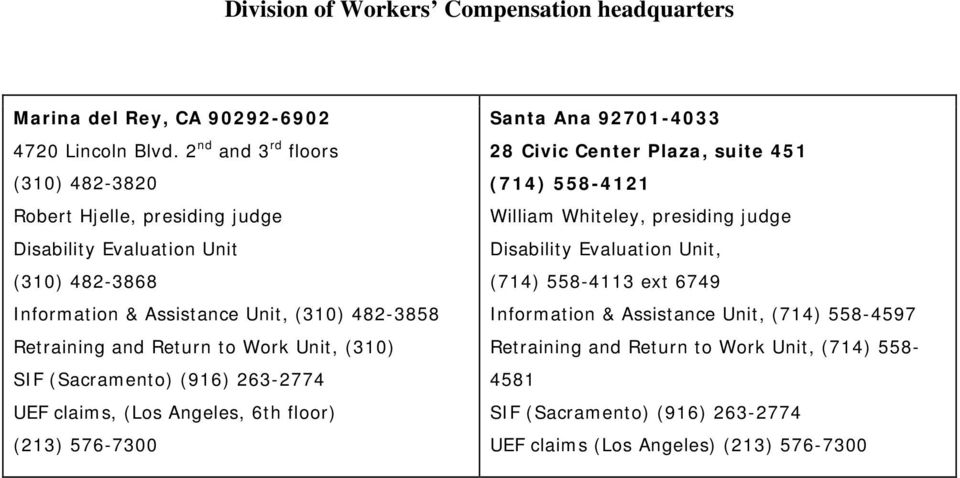 (310) 482-3858 Retraining and Return to Work Unit, (310) UEF claims, (Los Angeles, 6th floor) (213) 576-7300 Santa Ana 92701-4033 28 Civic