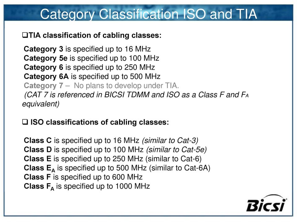 (CAT 7 is referenced in BICSI TDMM and ISO as a Class F and FA equivalent) ISO classifications of cabling classes: Class C is specified up to 16 MHz (similar to Cat-3)