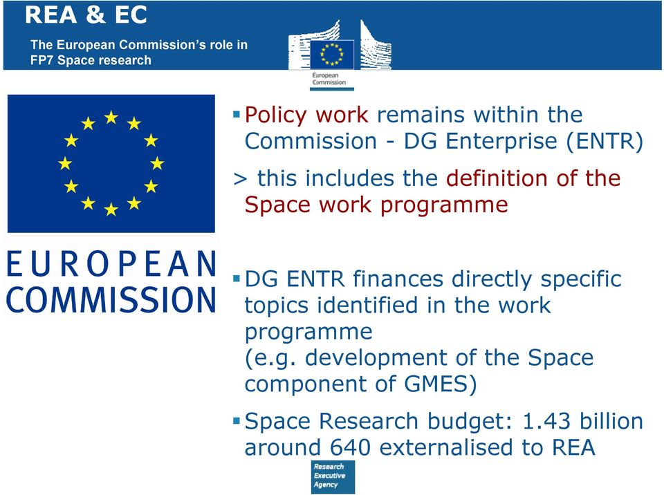 DG ENTR finances directly specific topics identified in the work progr