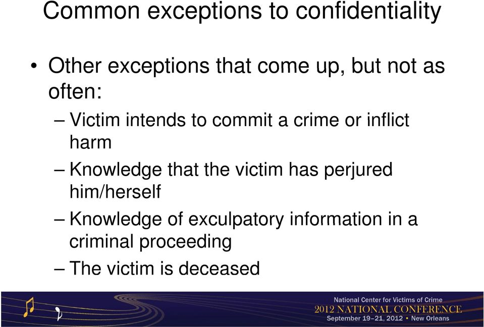 Knowledge that the victim has perjured him/herself Knowledge of