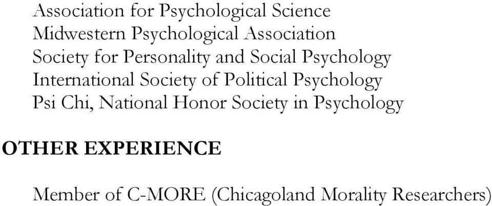 International Society of Political Psychology Psi Chi, National Honor