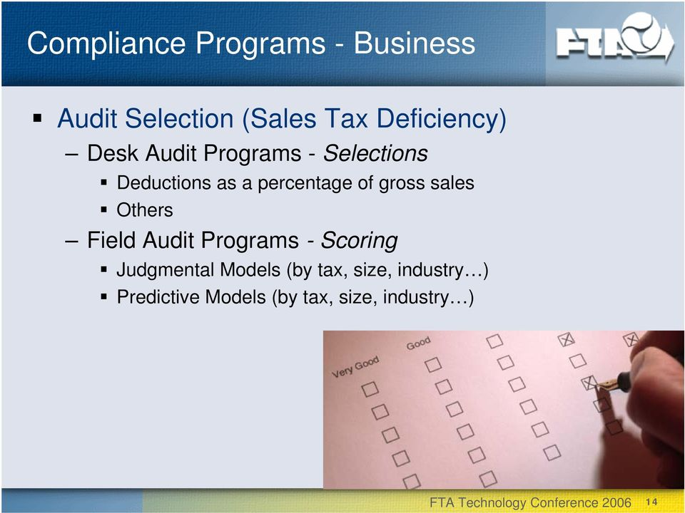 percentage of gross sales Others Field Audit Programs - Scoring