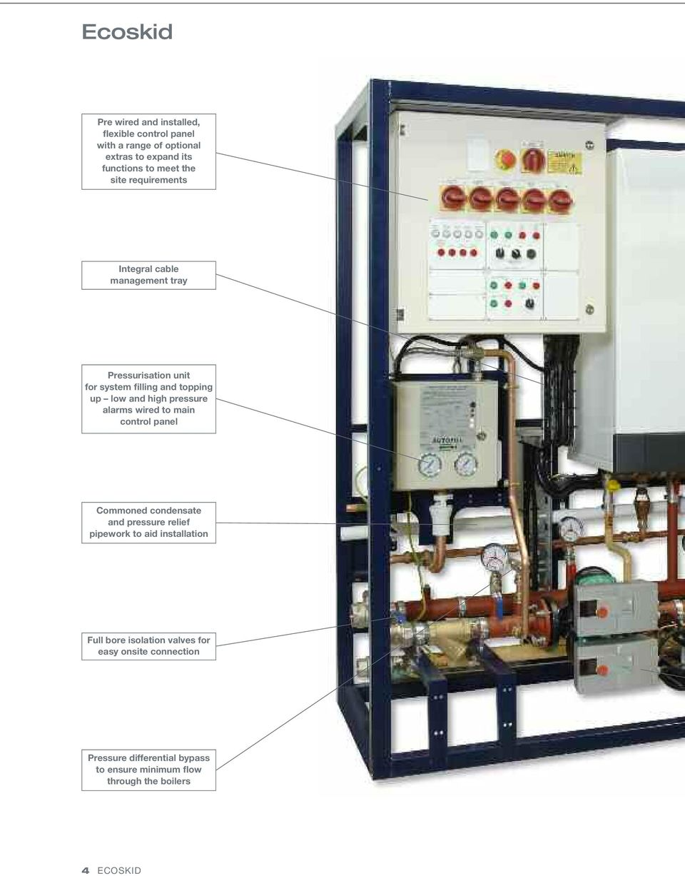 pressure alarms wired to main control panel Commoned condensate and pressure relief pipework to aid installation Full