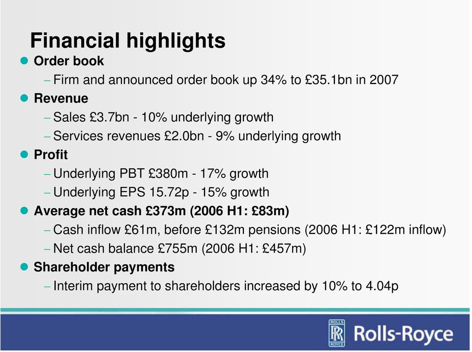 0bn - 9% underlying growth Profit Underlying PBT 380m - 17% growth Underlying EPS 15.
