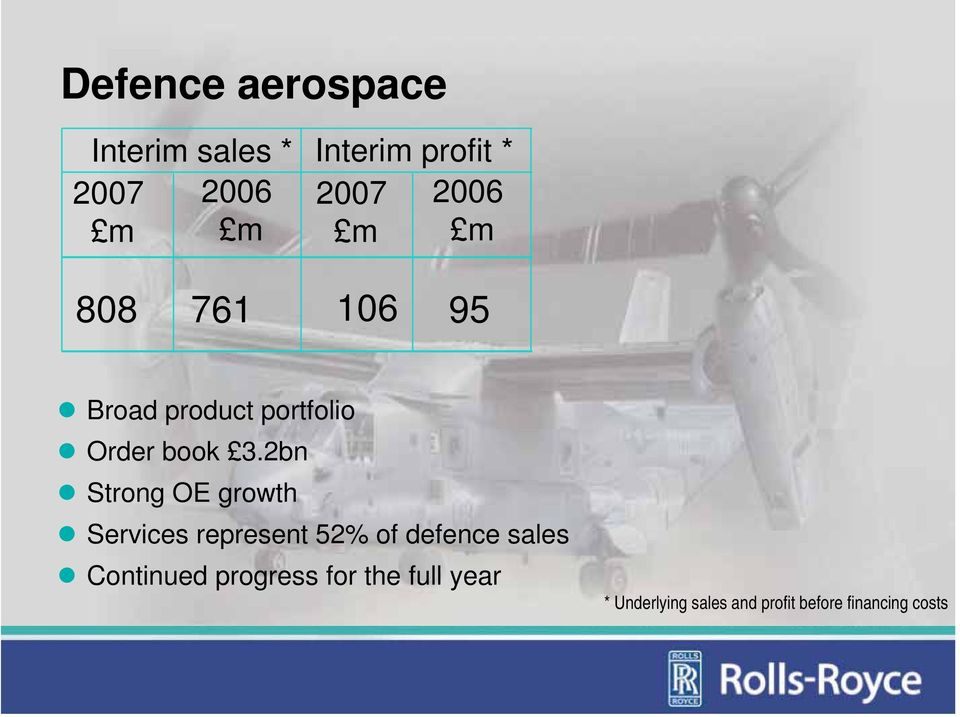 2bn Strong OE growth Services represent 52% of defence sales