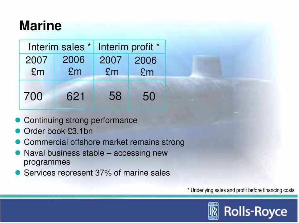 1bn Commercial offshore market remains strong Naval business stable