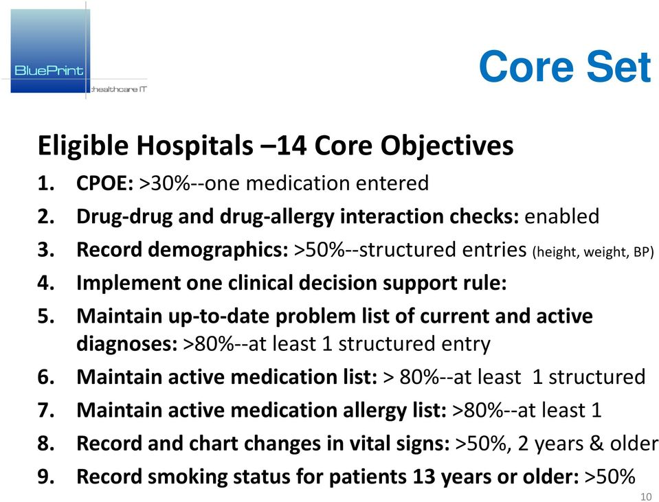 Maintain up-to-date problem list of current and active diagnoses: >80%--at least 1 structured entry 6.