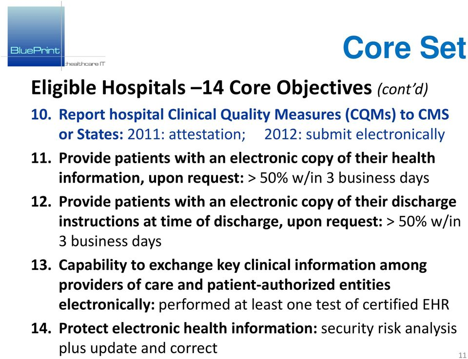 Provide patients with an electronic copy of their health information, upon request: > 50% w/in 3 business days 12.