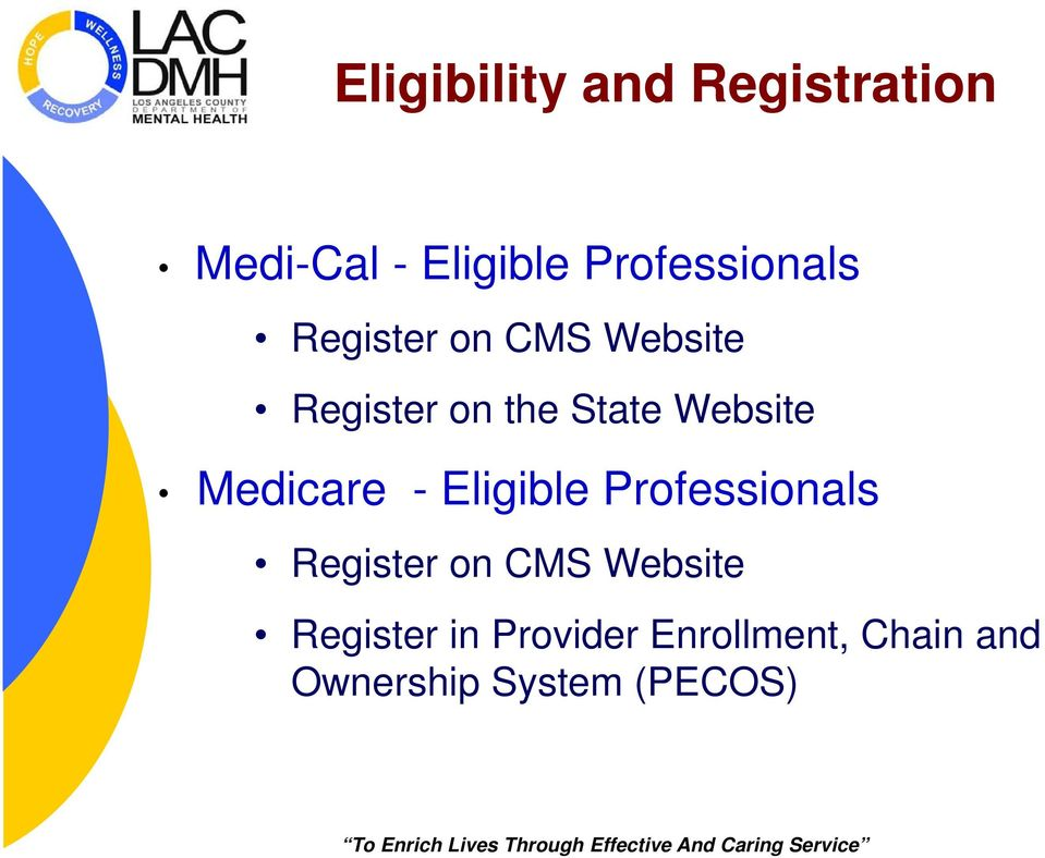 Website Medicare - Eligible Professionals Register on CMS