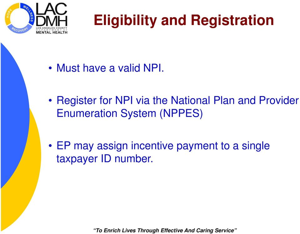 Provider Enumeration System (NPPES) EP may