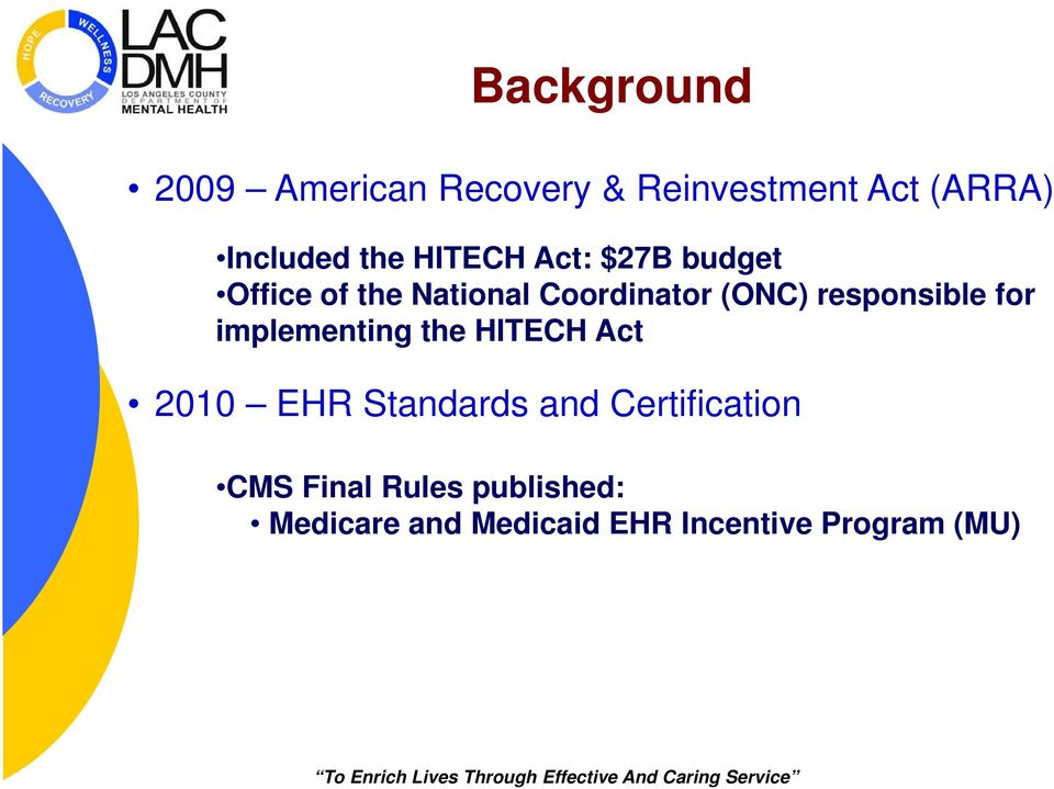 responsible for implementing the HITECH Act 2010 EHR Standards and