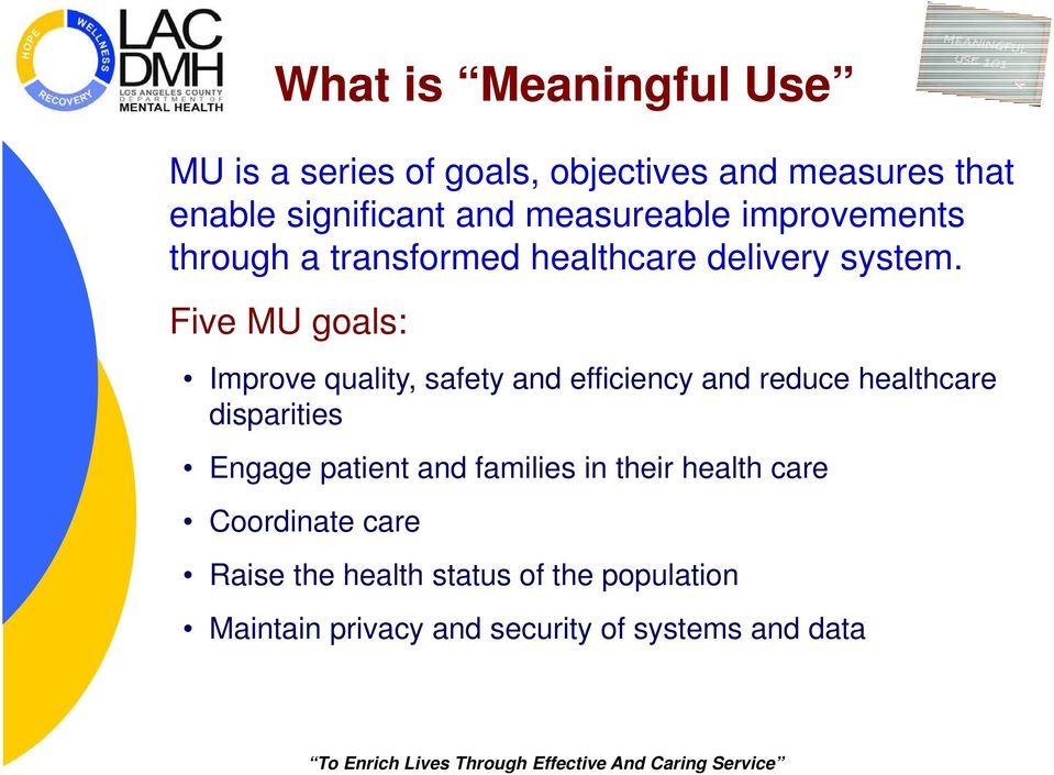 Five MU goals: Improve quality, safety and efficiency and reduce healthcare disparities Engage patient