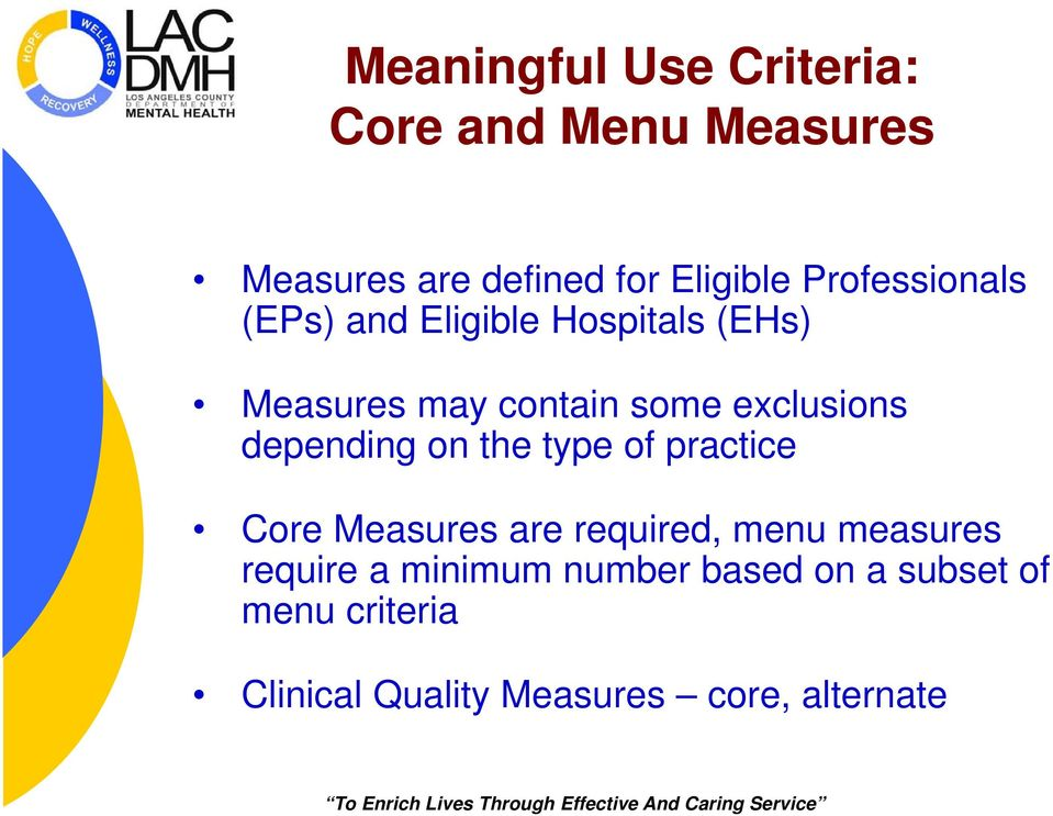 depending on the type of practice Core Measures are required, menu measures require a