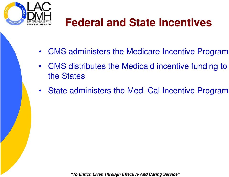 the Medicaid incentive funding to the States