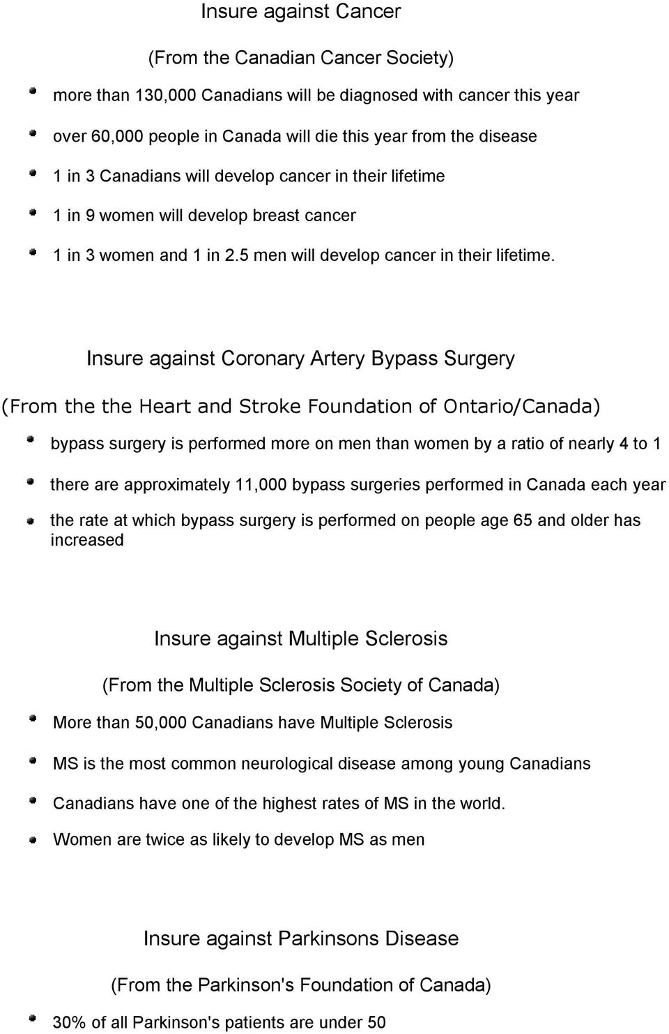 Insure against Coronary Artery Bypass Surgery (From the the Heart and Stroke Foundation of Ontario/Canada) bypass surgery is performed more on men than women by a ratio of nearly 4 to 1 there are
