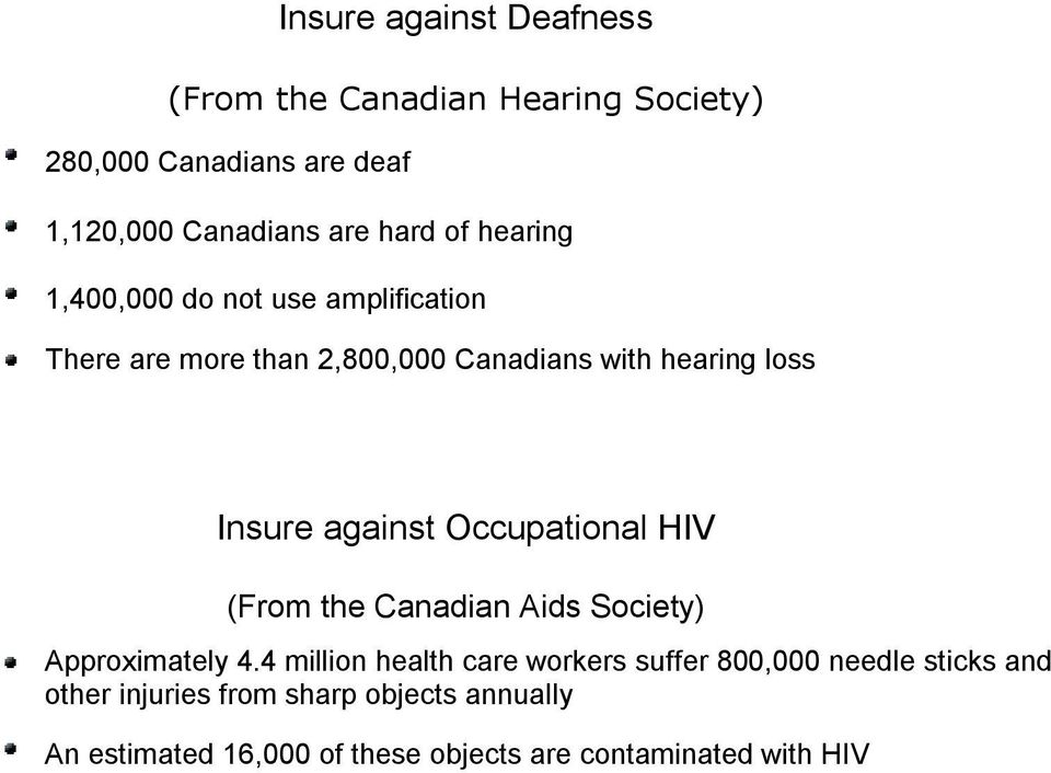 against Occupational HIV (From the Canadian Aids Society) Approximately 4.