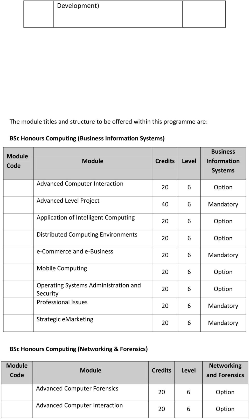 Environments e-commerce and e-business Mobile Computing Operating Systems Administration and Security Professional Issues Strategic emarketing 40 6 Mandatory