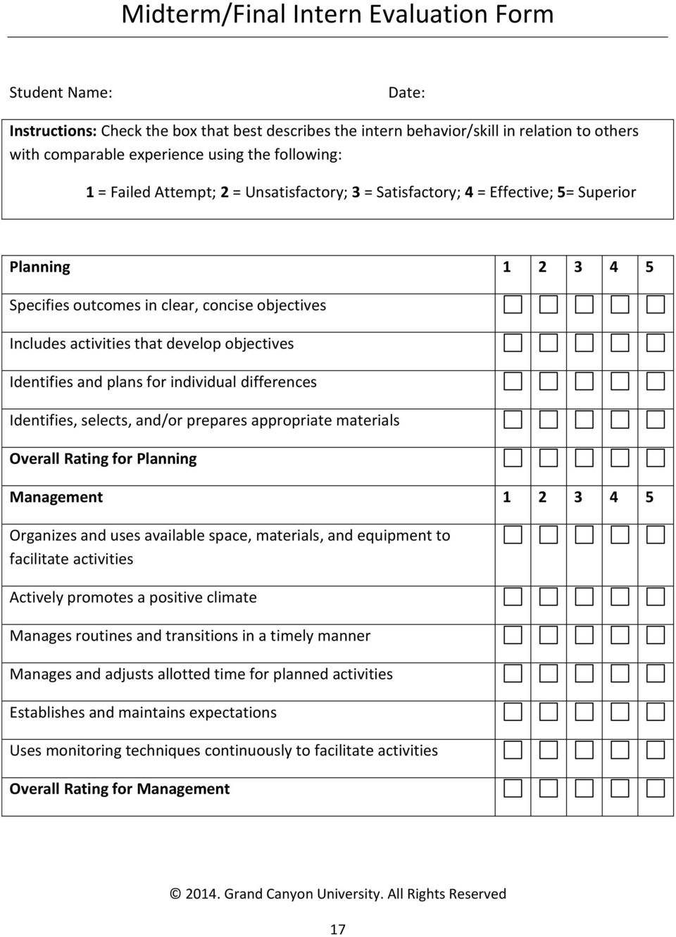 objectives Identifies and plans for individual differences Identifies, selects, and/or prepares appropriate materials Overall Rating for Planning Management 1 2 3 4 5 Organizes and uses available