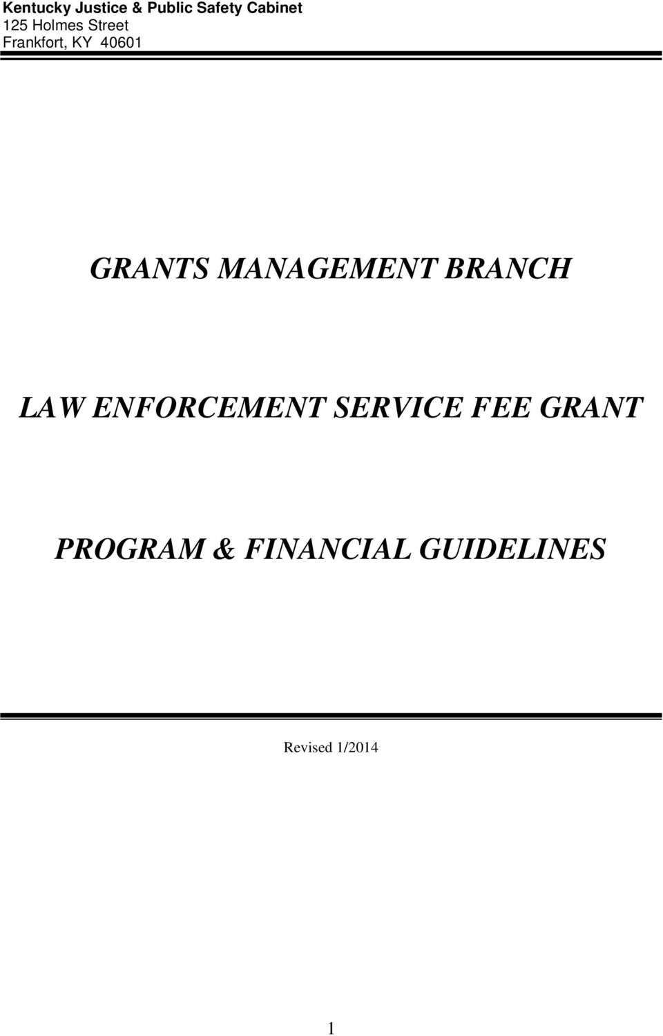 MANAGEMENT BRANCH LAW ENFORCEMENT SERVICE FEE
