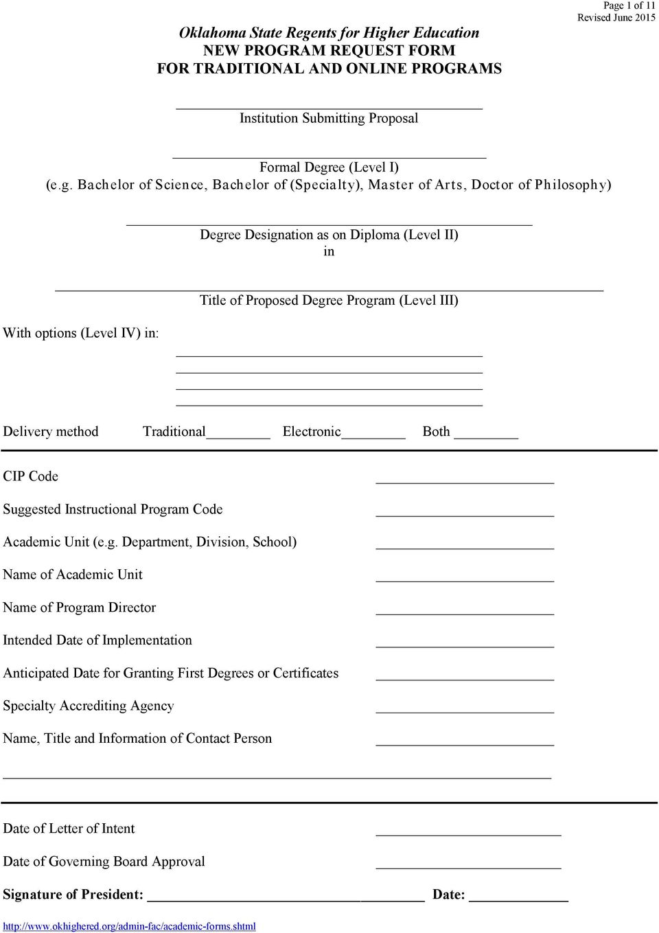 er Education NEW PROGRAM REQUEST FORM FOR TRADITIONAL AND ONLINE PROGRAMS Page